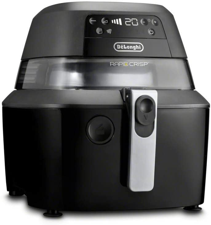 De'Longhi Rapid Crisp Air Fryer, 5-Quart, 1700-Watt XL Cooker, Fries, Crisps, Roasts, Bakes, 5 Preset Functions, Pizza Setting up to 20% Faster Cooking, Easy Clean Nonstick, 360° Viewing, FH2394