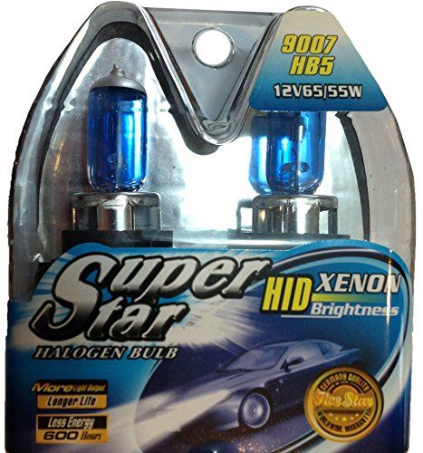 SUPERSTAR 9007 (Also Fits HB5) 8500k Super White High Performance, Long Lasting Halogen Headlight Bulb, Xenon and HID Equivalent (Pack of 2)