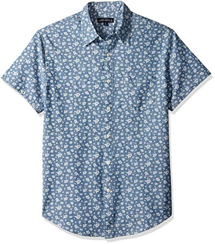 J.Crew Mercantile Men's Slim-Fit Short-Sleeve Printed Chambray Shirt, Kilauea Hibiscus Blue, S ()