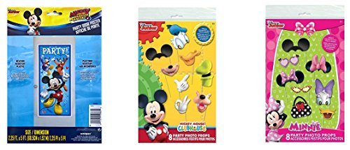 Mickey Mouse Clubhouse and Minnie Mouse Photo Props (16 pieces) and Mickey Mouse Party Door Poster (5 ft)