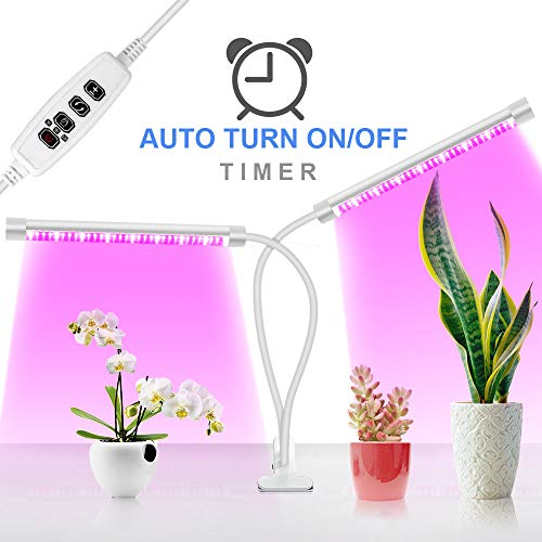 Grow Light for Indoor Plants with Auto On/OFF Timer, 36 LED Dual Head Grow Light Bulbs, Updated Clip On Desk Growing Lamp Plant Light for Seedling, Vegetable, Herbs, Hydroponic, Greenhouse, Gardening