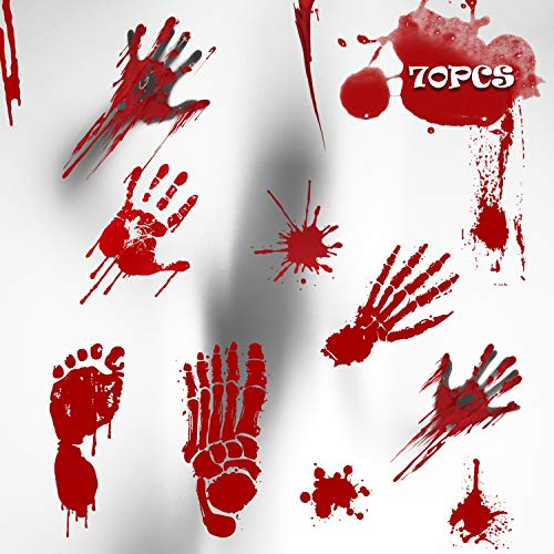 Bloody Footprints, 70 PCS Halloween Party Decorations, Horror Bathroom Decal Stickers- Halloween Gift Set Including Footprints, Handprints,Bloodstains, Easy to Clean Halloween Indoor Decorations. -