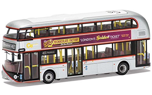 "Corgi Boys New Routemaster ""Charlie & the Chocolate Factory"" Go-Ahead London 453 Marylebone 1:76 The Original Omnibus OM46614A Vehicle, Silver -  Hornby"