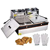 WeChef 12L 5000W Stainless Steel Electric Deep Fryer Countertop Dual Tank Basket Commercial Restaurant Kitchen