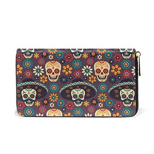 Day of the Dead Sugar Skull Pumpkin Wallets Halloween Leather Clutch Purse Handbag]()