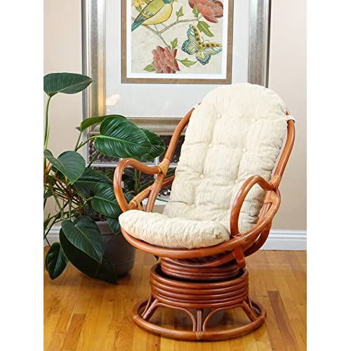 Discount Java Swivel Rocking Chair Colonial with Cushion Handmade Natural Wicker Rattan Furniture for sale