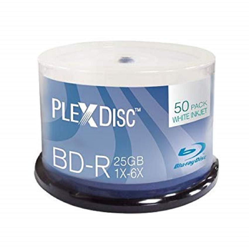 PlexDisc 633-214 25 GB 6x Blu-ray White Inkjet Printable Single Layer Recordable Disc BD-R, 50-Disc Spindle LYSB00IK2OQM8-CMPTRACCS