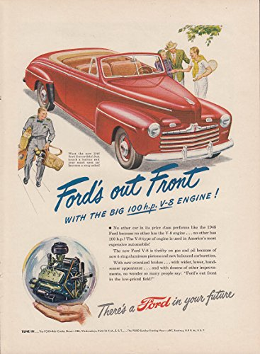 Out front with the big 100 HP engine Ford Convertible Coupe ad 1946 NY - Hewlett Packard Engine