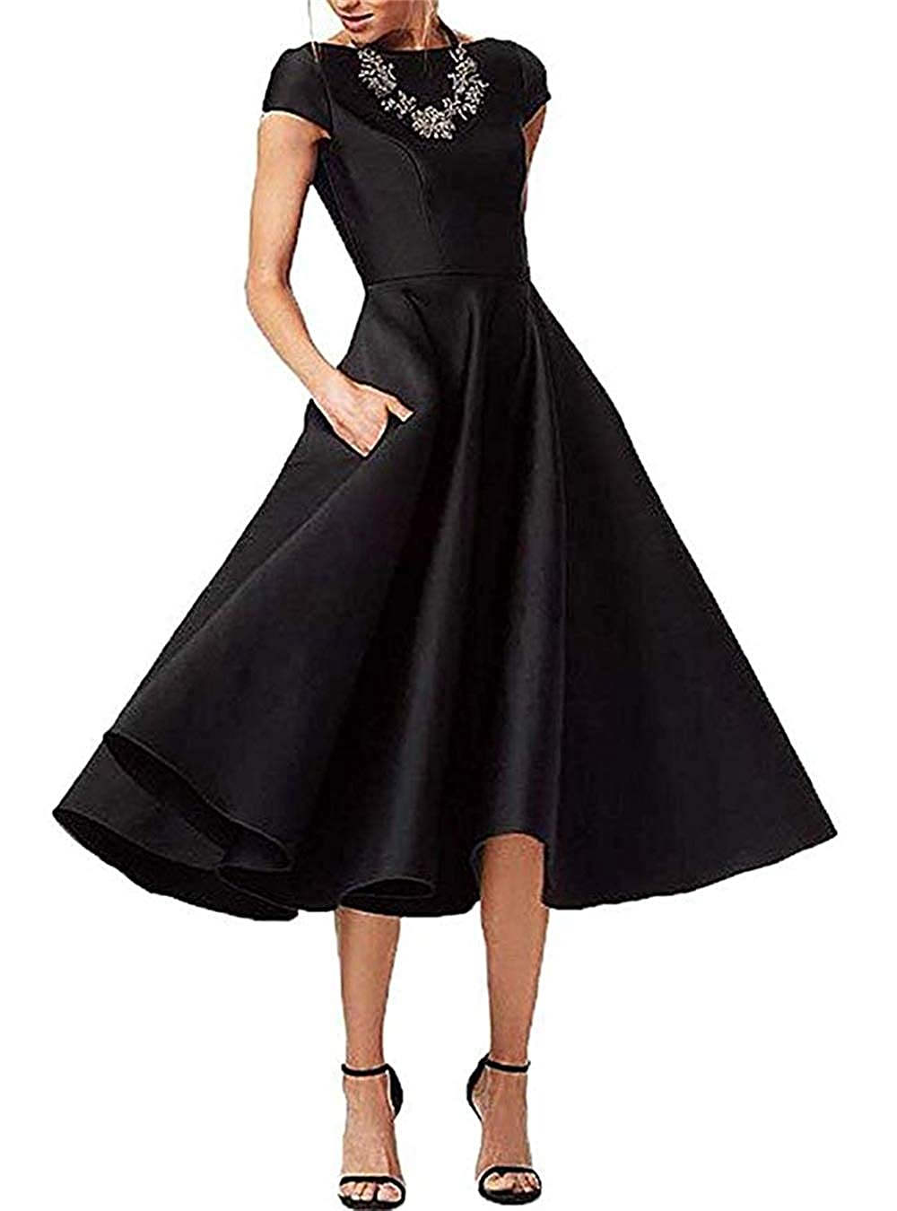 Black tutu.vivi Women's Satin Tea Length Mother of The Bride Dresses Short Sleeves Prom Dress with Pockets