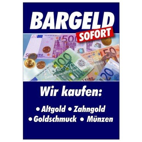 Plakat für Goldankauf Bargeld sofort DIN A1, Werbeplakat Poster Gold