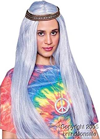 Amazon.com: Grey Hippie Wig w/ Headband: Clothing