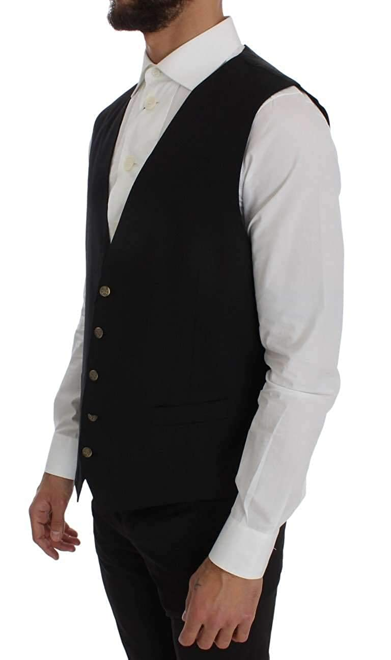 Dolce /& Gabbana Black Wool Blend Formal Vest