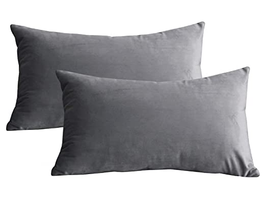 Lutanky Pack de 2 fundas de terciopelo Elegante Throw Pillow Funda de cojín suave Rectángulo sólido fundas de almohada decorativas para sofá ...