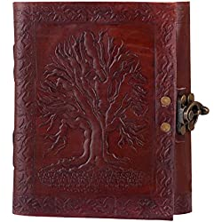 Adimani Tree of Life Handmade Brown Leather Diary/Travel Writing Journal Notebook with Strap/Refillable-Gift