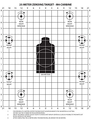PlusTactical M4 Carbine 25 Meter Zeroing Target on EZ Peel Notepad (White, 25 Pack)