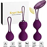 Abandship 2 in 1 Kegel Balls Kit - Massager Ben Wa Balls for Women & Silicone Wireless Remote Control Massager Rechargeable & Pelvic Floor Exercises Kegel Exercise Weights Kit (Purple)