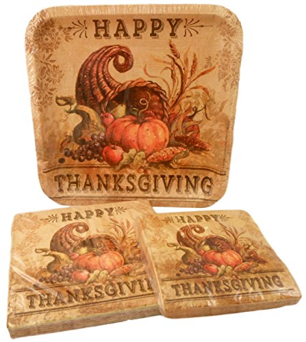 Sophisticated Thanksgiving Party Pack - Plates and Napkins