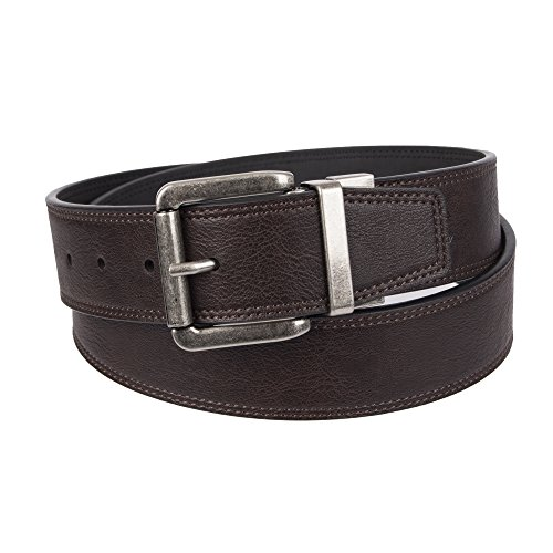 Weatherproof Men's Casual Reversible Belt with Rotated Buckle, Black Brown/Silver Buckle, 36 (Leather Reversible Casual Belt)