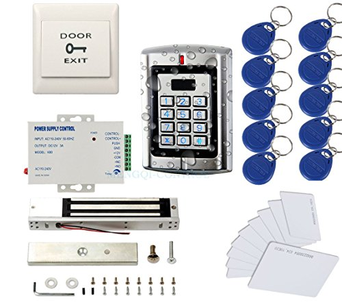 600 Lb Magnetic Lock (Metal Weatherproof Access Control System( Only for 125KHz HID Card )600LBS Force Electric Magnetic Lock +110VPower Supply+Exit button+Cards+Key Fobs)