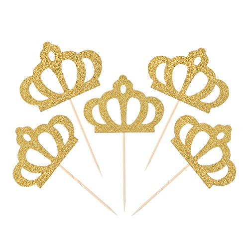 Mtlee 50 Pack Gold Glitter Crown Cupcake Toppers Glitter Party Cake Decorations