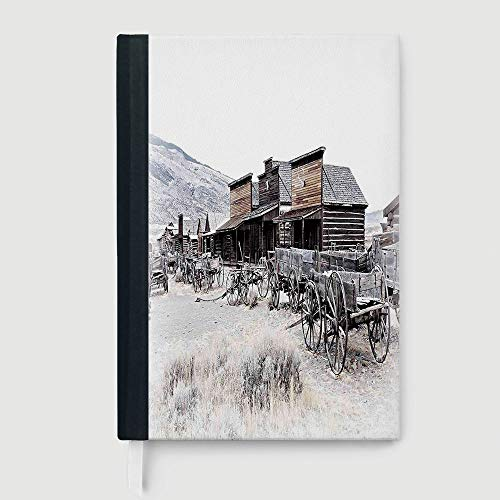 Western Decor,Composition Book/Notebook,Old Wooden Wagons from 20s in Ghost Town Antique Wyoming Wheels Art Print,96 Ruled Sheets,B5/7.99x10.02 in
