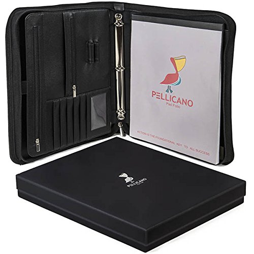 Original PU Leather Portfolio Case w/ Writing Pad: Look Professional at Work. Tablet / Boogie Board Pocket, Rings Binder, Organizer, Notebook Holder. Secure Personal & Business Supplies, Folders, (Digital Design Portfolio Cd)