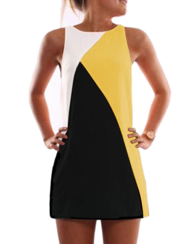 AIYUE Damen Sommer kurze Rundhals Minikleid ärmellos Geometrische Spleiß A Line Kleider basic Kleid