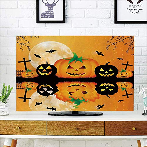 YCHY LCD TV dust Cover,Halloween Decorations,Spooky Carved Halloween Pumpkin Full Moon with Bats and Grave Lake,Orange Black,3D Print Design Compatible 55