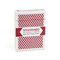 Single Red Deck Wide Size Jumbo-Index Plastic-Coated Playing Cards by Brybelly