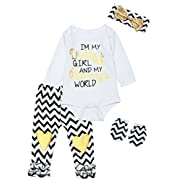 Infat 4PCS Baby Girls Heart Letter Print Long Sleeve Striped Pants Outfit Set (3-6 Months)
