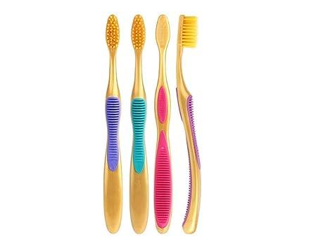 Plsonk Práctico Paquete de 4 cerdas Doradas Cepillo de Dientes Suave Herramienta de Limpieza Oral (