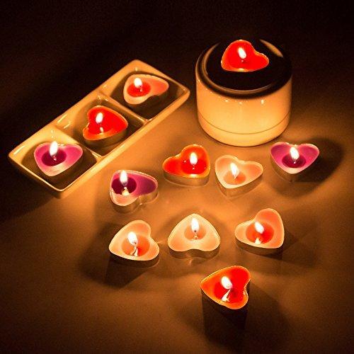 Rouge Gearmax 50 Pi/èces de Bougies Romantique en Forme de Coeur Bougie Sans Fum/ée Cr/éatif