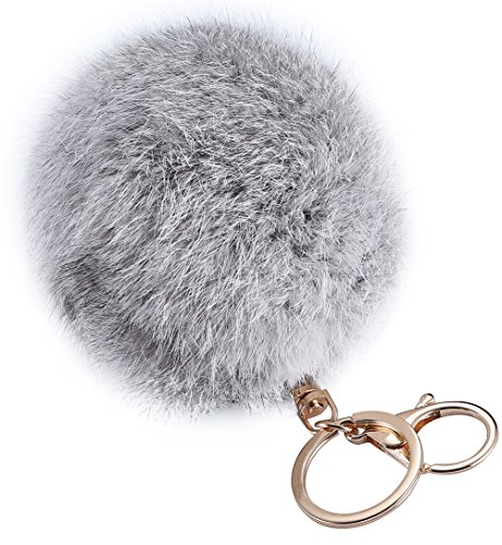 Nice 10cm Big Size 18K Gold Plated Keychain Plush Cute Soft Genuine Rabbit Fur Key Chain for sale