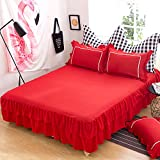 KFZ Bed skirt With Two Pillowcases Solid Pure Plain Color ML Twin Full Queen Size 3pcs/set Super Soft Microfiber for Bedding Set Quilt Comoforter (Red, Twin 59''x79'')