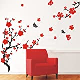Stylish Cherry Plum Blossom Flowers & Butterflies Wall Stickers Home/Room Decors Mural Art Decals Adhesive Decorative