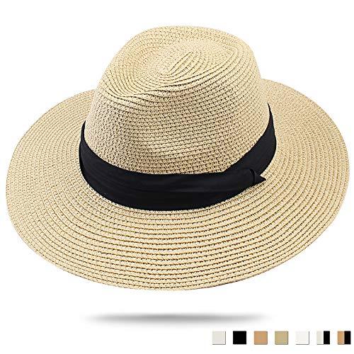 (FURTALK Panama Hat Sun Hats for Women Men Wide Brim Fedora Straw Beach Hat UV UPF 50 Khaki )