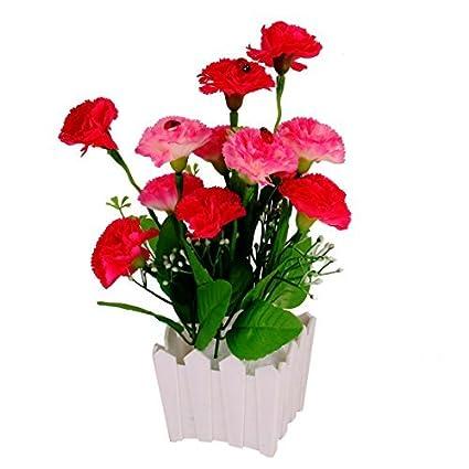 eDealMax plástico maceta DIY dispositivo de decoración de la Tabla de la Flor Artificial Fucsia