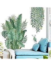 Tropische Groene Bladeren Plant Muurstickers, Noordse Tropische Planten Monstera Bladeren Tuin Klein Vers Huishoudtextiel Stickers Behang Zelfklevend (Groen)