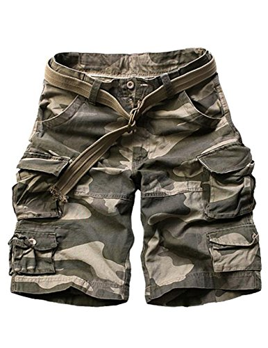Menschwear Mens Cotton Cargo Shorts Multi Pockets Relaxed Fit with Belt (36″,Camouflage 2)