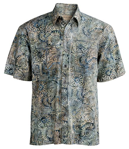 Johari West Indo Bay Tropical Hawaiian Cotton Batik Shirt (XL, Sand)
