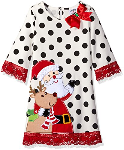 Rare Editions Little Girls' Toddler Santa Applique Dress, White/Black/Red, 2T