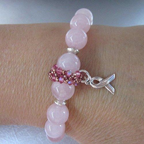 Rose Quartz Breast Cancer Awareness Ribbon Crystal Stretch Bracelet