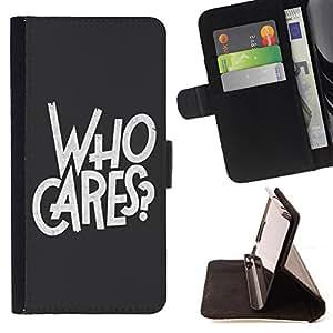 King Case - FOR Apple Iphone 6 PLUS 5.5 - who cares - Prima caja de la PU billetera de cuero con ranuras para tarjetas, efectivo Compartimiento desmontable y correa para la mu?eca