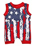 UNIQUEONE Infant Baby Boys Girls Outfits American Flag Pattern Romper Jumpsuit Clothes Size 0-6Months/Tag70 (Red)
