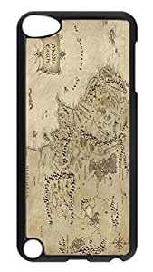 iPod Touch 5 Case, iPod 5 Case - Full-Body Protective Black Hard Back Case Cover for iPod 5 Middle Earth Map The Lord Of The Rings Scratch-Resistant Hard Case Cover For iPod Touch 5