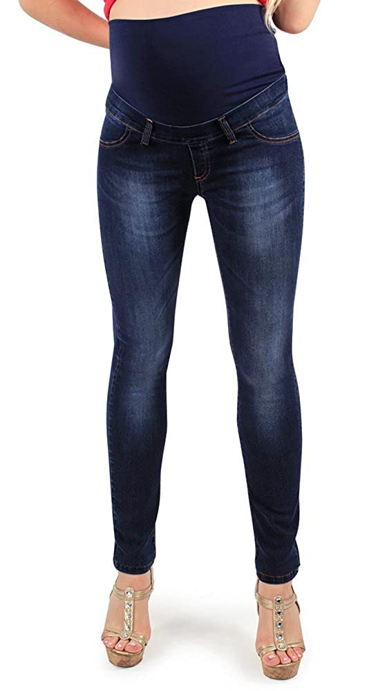 Maternity Jeggings Deluxe Wash, Skinny Fit. Power Stretch Fabric for Great Comfort During Pregnancy and Beyond- Made in Italy