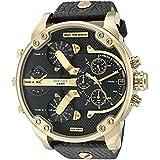 Diesel Men's DZ7371 Mini Daddy Gold Black Leather Watch
