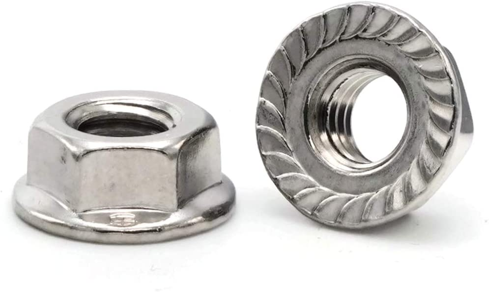 6M x 1.0 Qty-100 10.0 Flats x 6.0 Thick x 14.2 Dia Flg Hex Flange Nut A2 Stainless Steel