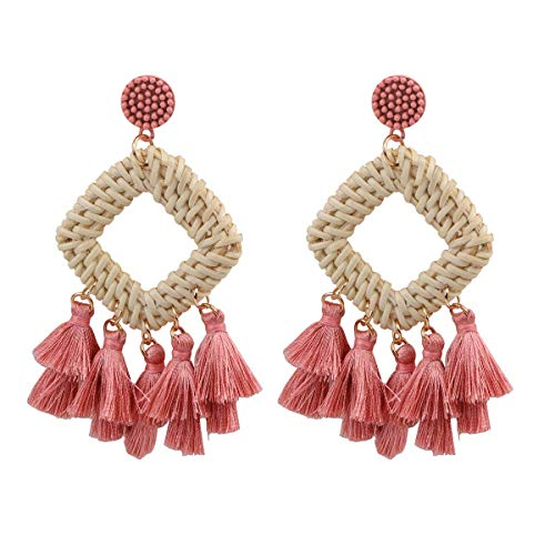 HAO HONG Statement Beads Hoop Tassel Earrings for Women,Drop Earrings Handmade Beaded Fringe Dangle Earrings (D) ()