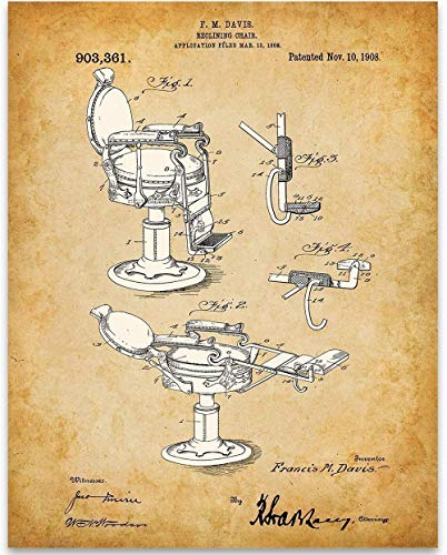 Reclining Barber Chair Patent - 11x14 Unframed Patent - Great Barber Shop Decor Under $15 for Hair ()